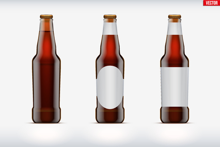 Mockup set of Craft beer bottle. Brown amber glass. Mock-up design for Individual and home brewery. Handcrafted beer. Vector Illustration isolated on background Illustration