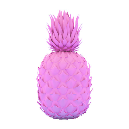 Painted Pink Pinapple Isolated on White Background. Modern Fashion Design in Minimal Style. Vivid and Pastel color. 3D render Illustration Stock Photo