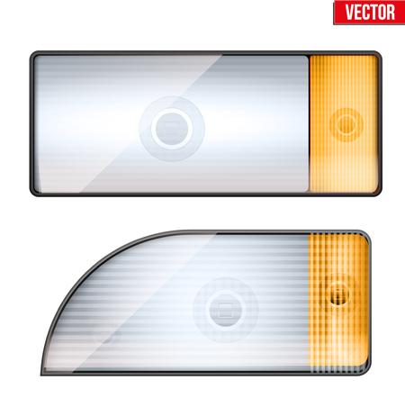 Rechteckiger Autoscheinwerfer und Blinker. Glaskasten des Frontlichts. Vektor-Illustration isoliert auf weißem Hintergrund.