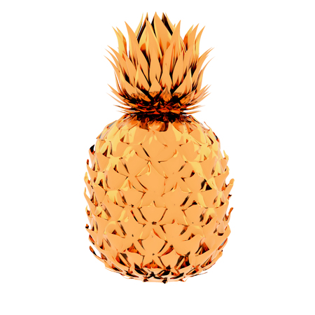 Painted Golden Pinapple Isolated on White Background. Modern Fashion Design in Minimal Style. Metallic color. 3D render Illustration