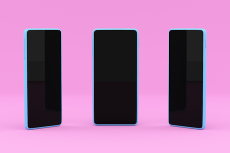 Concept Illustration of sample smartphones with different angles. Presentation of Communication Technology and UI. 3D Render Illustration.