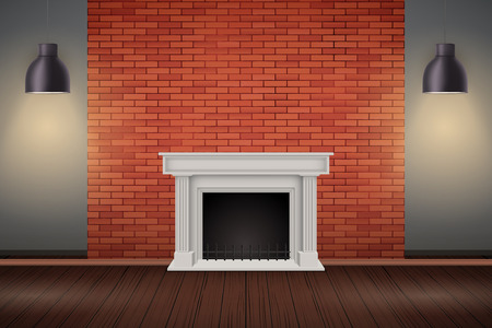Interior of red brick wall with fireplace and vintage pendant lamps. Fashion living room interior. Vector Illustration.