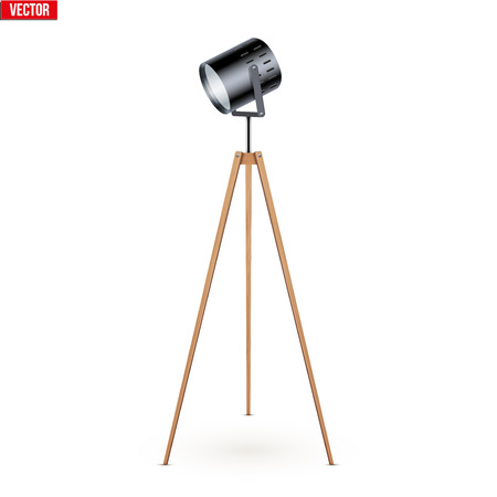 Decorative Spotlight Floor Lamp Tripod Original Sample Model with solid wood legs. For Loft, Living Room, Bedroom, Study Room and Office. Vector Illustration isolated on white background.