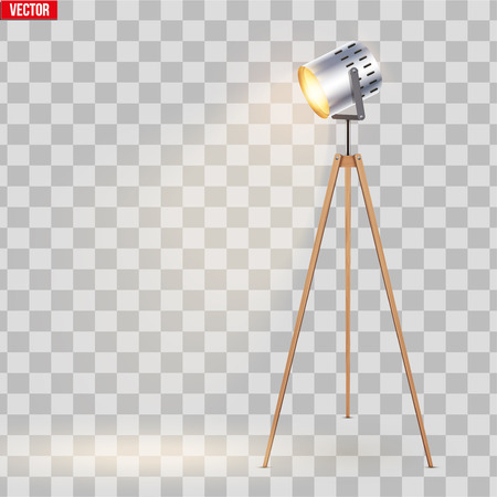 Decorative Spotlight Floor Lamp Tripod Original Sample Model with solid wood legs. Switch On. Loft, Living Room, Bedroom, Study Room and Office. Vector Illustration isolated on transparent background.