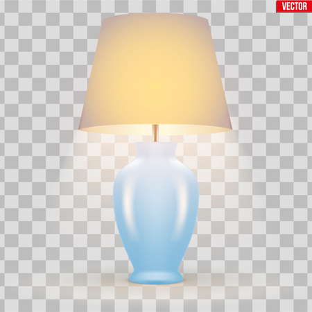 Classic Decorative Table Lamp Sample Model with Bowl and Silk Shade. Switch On. For Hotel, Living Room and Bedroom. Vector Illustration isolated on transparent background.