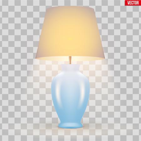 Modèle d'échantillon de lampe de table décorative classique avec bol et abat-jour en soie. Allumer. Pour l'hôtel, le salon et la chambre. Illustration vectorielle isolée sur fond transparent.