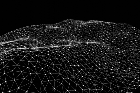 Abstract Digital Background of Science or Blockchain. Geometry Virtual Grid Mesh. Molecules or blocks are connected. 3D Render Illustration Zdjęcie Seryjne