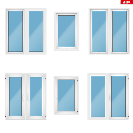 Set of Metal plastic PVC windows.  Presentation of models and frame installation. White color. Sample Vector Illustration isolated on white background.