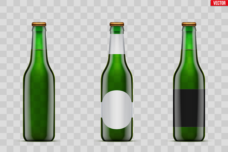 Mockup set of Craft beer bottle. Green glass. Mock-up design for Individual and home brewery. Handcrafted beer. Vector Illustration isolated on transparent background