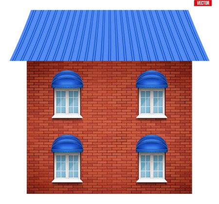 House facade with four windows. Sample project of house buildings. Vector Illustration isolated on white background. Ilustração