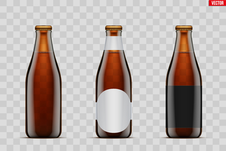 Mockup set of Craft beer bottle. Brown amber glass. Mock-up design for Individual and home brewery. Handcrafted beer. Vector Illustration isolated on transparent background