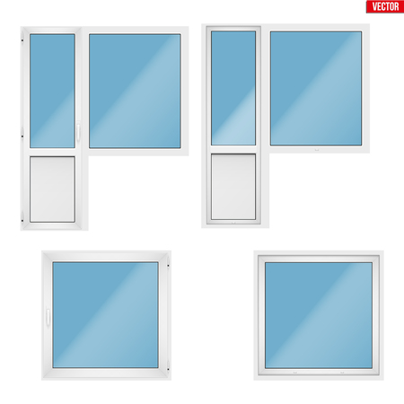 Set of Metal plastic PVC balcony window and door. Indoor and outside view. Presentation of models and frame installation. White color. Sample Vector Illustration isolated on background.