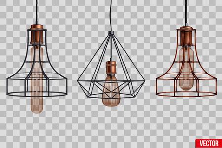 Decorative edison light bulb in Retro design copper wire lampshade. Original Vintage design. Vector Illustration isolated on transparent background