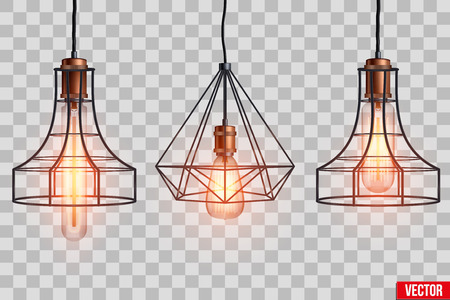 Decorative edison light bulb in Retro design copper wire lampshade. Original Vintage design. Switch on. Vector Illustration isolated on transparent background