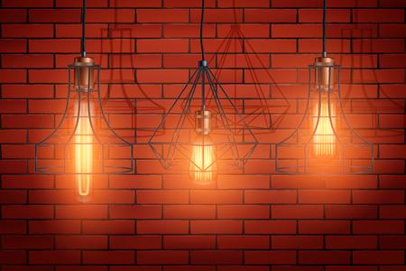 Decorative edison light bulb in Retro design copper wire lampshadeon brick wall. Original Vintage design. Switch on. Vector Illustration