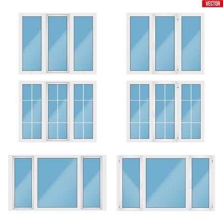 Set von Metall-Kunststoff-PVC-Fenstern mit drei Abschnitten. Innen- und Außenansicht. Präsentation von Modellen und Rahmenmontage. Weiße Farbe. Beispielvektorillustration lokalisiert auf weißem Hintergrund.