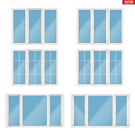 Set of Metal plastic PVC windows with three section. Indoor and outside view. Presentation of models and frame installation. White color. Sample Vector Illustration isolated on white background.