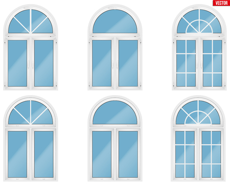 Set di finestre in PVC plastica metallo con stile ad arco. Vista interna ed esterna. Presentazione dei modelli e installazione del telaio. Colore bianco. Esempio di illustrazione vettoriale isolato su sfondo bianco.