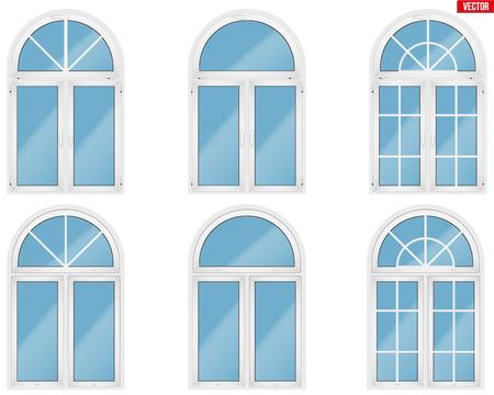 Set von Metall-Kunststoff-PVC-Fenstern im Bogenstil. Innen- und Außenansicht. Präsentation von Modellen und Rahmenmontage. Weiße Farbe. Beispielvektorillustration lokalisiert auf weißem Hintergrund.