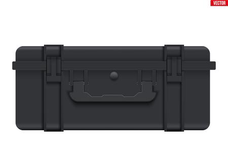 Protective Waterproof Plastic Case. Tool box and Safe Equipment Storage. Closed style. Vector Illustration isolated on white background. Standard-Bild - 124952969