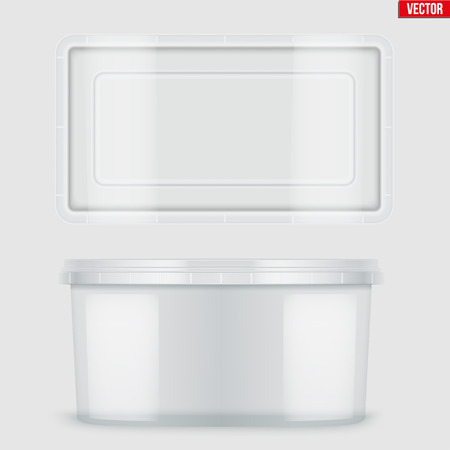 Set of Clear Plastic Rectangle container with lid for food. Realistic Blank of Food delivery and foodstuff. Vector Illustration isolated on background.