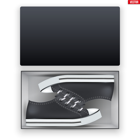 Opened Black Shoes Box With Canvas Sneakers. Mockup Rectangle Cardboard box container. Vector Illustration isolated on white background. Standard-Bild - 124952999