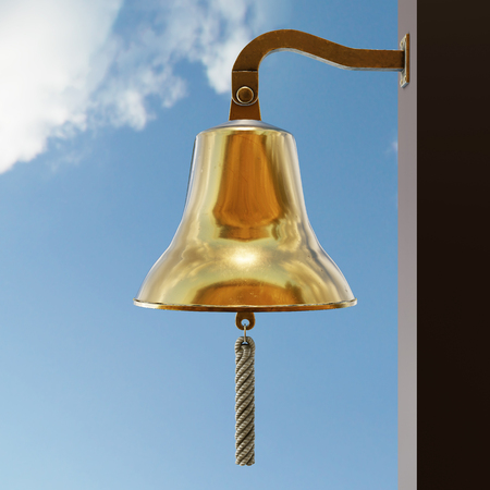 Nautical Ship Bell on sky background. Bronze metal shines in the sun. Equipment for sailboat and yacht. Concept of clock and ring signal. 3D render Illustration