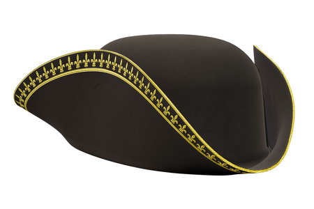 Tricorne Cocked Hat of Classic Style. Perspective view. 3D render Illustration isolated on a white background.