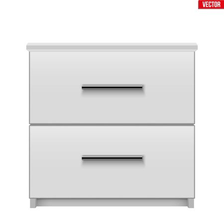 Modern bedside nightstand. Wooden Bedside cabinet with two drawers. White color. Sample Furniture Interior element. Vector Illustration isolated on white background Standard-Bild - 124953012