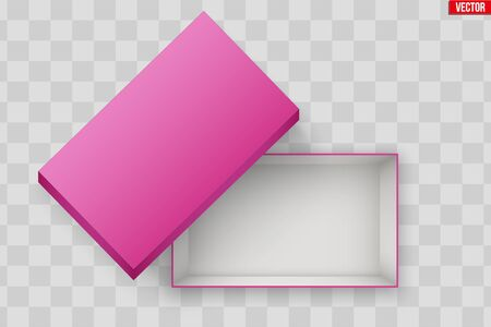Blank of Opened Pink Shoes Box With Lid. Mockup Rectangle Paper box container. Vector Illustration isolated on transparent background. Standard-Bild - 124953189