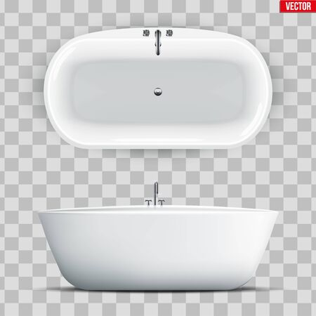 Set of Modern bath isolated on transparent background. Top and Front view. Element for design bathroom. Vector Illustration