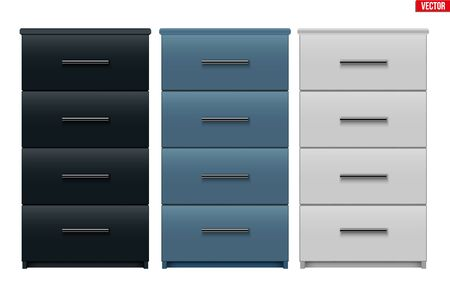 Set of Office Cabinet with drawers. Filing cabinet with four drawers. Metallic and Black and White color. Sample Furniture Workplace Interior element. Vector Illustration isolated on white background
