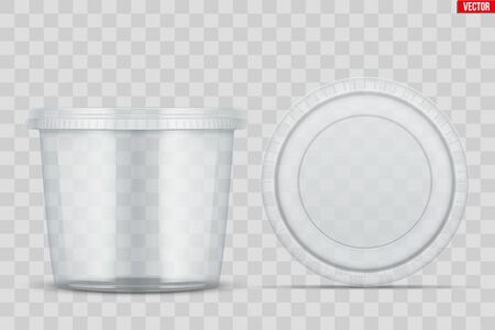 Set of Clear Plastic container with lid for food. Circle Realistic Blank of Food delivery and foodstuff. Vector Illustration isolated on background. Illustration