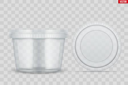 Set of Clear Plastic container with lid for food. Circle Realistic Blank of Food delivery and foodstuff. Vector Illustration isolated on background. Stock Illustratie