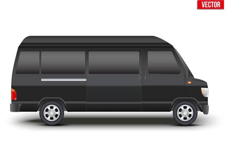 Original classic VIP transfer service Black minibus. Service van transportation. Editable Vector illustration Isolated on white background.
