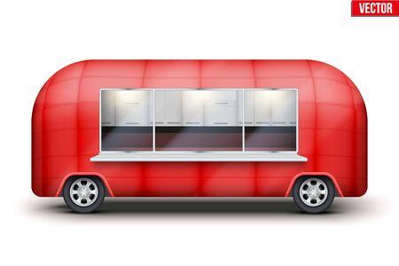 Vintage Food Truck Vintage Food Truck Trailer. Fast food retro van with window. Red color. Editable Vector illustration Isolated on white background. Standard-Bild - 127621720