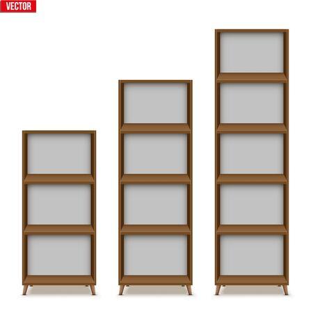 Set aus leerem Regal mit Regalen oder Bücherregalständer. Beispielmöbel Home und Workplace Interior Element. Vektor-Illustration isoliert auf weißem Hintergrund Vektorgrafik