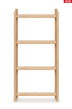Wooden Rack storage stand. Sample Furniture Home and Warehouse Interior element. Vector Illustration isolated on white background Standard-Bild - 127621719