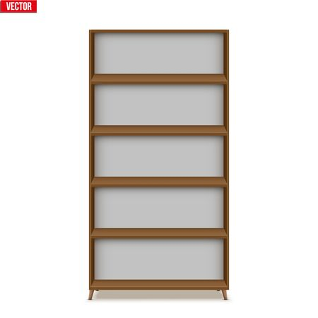 Empty bookshelf stand. Sample Furniture Home and Workplace Interior element. Vector Illustration isolated on white background Standard-Bild - 127621732