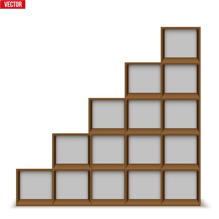 Set of Empty rack with shelves or bookshelf stand. Sample Furniture Home and Workplace Interior element. Vector Illustration isolated on white background Standard-Bild - 127621722