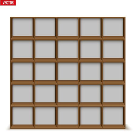 Set of Empty rack with shelves or bookshelf stand. Sample Furniture Home and Workplace Interior element. Vector Illustration isolated on white background Standard-Bild - 127621724