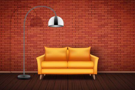 Interior of living room and loft. Yellow Sofa and Vintage floor lamp. Red bricks and wooden floor. Vector Illustration. Standard-Bild - 127621725