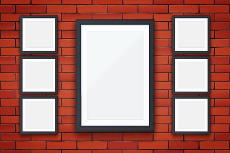 Red brick wall with four modern square picture frames. Interior Mockup black frame for photography image and advertising. Poster Closeup view. Vector Illustration. Standard-Bild - 127621733