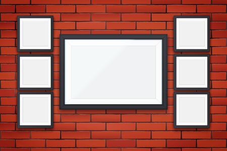 Red brick wall with four modern square picture frames. Interior Mockup black frame for photography image and advertising. Poster Closeup view. Vector Illustration. Standard-Bild - 127621734