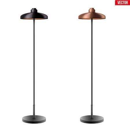 Set of Decorative Floor Lamps. Original Sample Model with Vintage Brass and Beige stylish cone Shade. For Loft, Living Room, Study Room and Office. Vector Illustration isolated on white background. Standard-Bild - 127621735