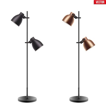 Set of Decorative Floor Lamps. Original Sample Model with Vintage Brass and Beige stylish cone Shade. For Loft, Living Room, Study Room and Office. Vector Illustration isolated on white background. Standard-Bild - 127621727