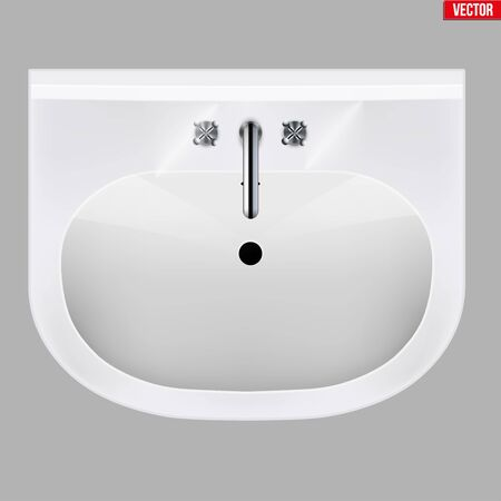 Classic ceramic washbasins with water tap. Porcelain washstand. Top view. Sample Ceramic sink Model with faucet For Bathroom and Restroom. Vector Illustration isolated on white background. Archivio Fotografico - 127621737