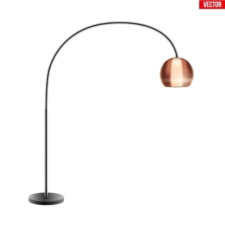 Decorative Floor Lamp. Original Sample Model with Bronze bell-style Shade For Loft, Living Room, Bedroom, Study Room and Office. Vector Illustration isolated on white background. Standard-Bild - 127621738