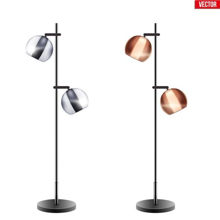 Set of Decorative Floor Lamps. Original Sample Model with Vintage Brass and Chrome stylish Bell Shade. For Loft, Living Room, Study Room and Office. Vector Illustration isolated on white background. Standard-Bild - 127621739