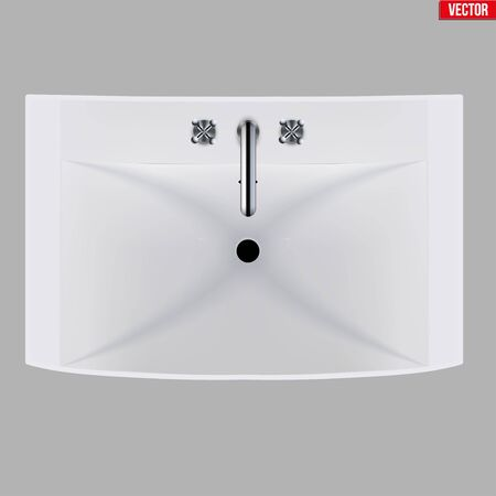 Classic ceramic rectangle washbasins with water tap. Porcelain washstand. Top view. Sample Ceramic sink Model with faucet For Bathroom and Restroom. Vector Illustration isolated on white background. Standard-Bild - 129228746